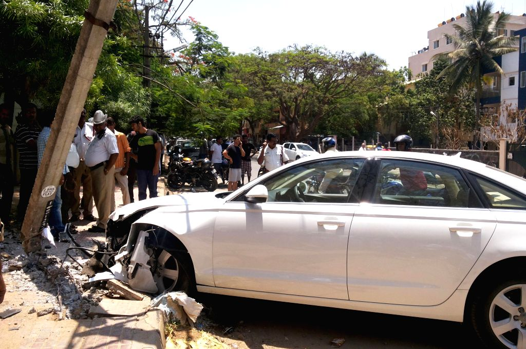 The damaged car after an accident which also involved a bike at BTM Layout in Bangalore on April 20, 2014. The biker was injured in the accident.