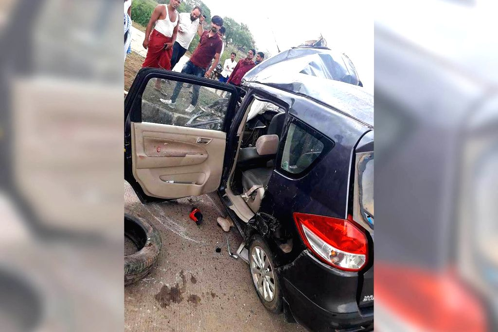 "The damaged car in which Sasural Simar Ka"" actor Shivlekh Singh, his parents Lekhna and Shivendra Singh and one more person named Naveen were travelling when it crashed into a truck on ... - Shivlekh Singh and Shivendra Singh"