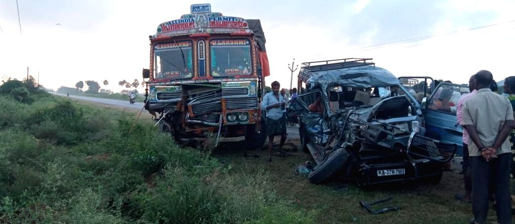 The damaged lorry and a four-wheeler that collided with each other, reportedly killing four and seriously injuring six, in Andhra Pradesh's Prakasam district on Dec 12, 2019.