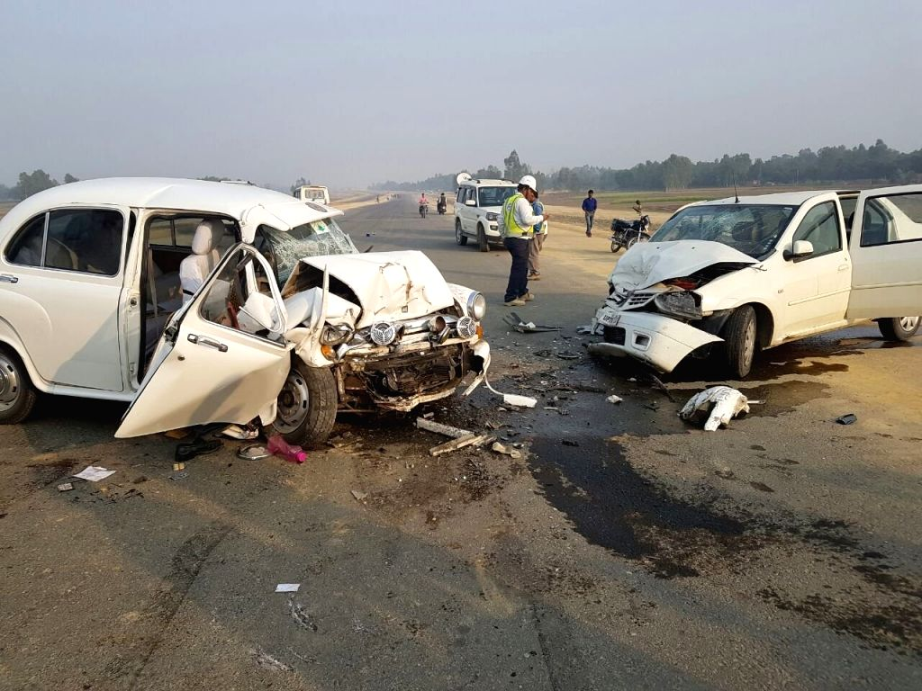 The damaged vehicle of Navneet Sehgal, Principal secretary of Uttar Pradesh's information department who was injured after his car collided with a Mahendra Logan at Lucknow - Agra Expressway ...