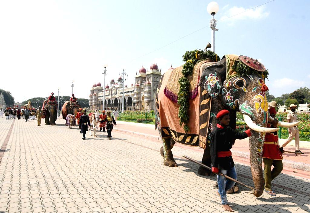 The Dasara Jumbo Savari procession during Vijayadashami celebrations at Mysuru Palace on Oct 26, 2020.