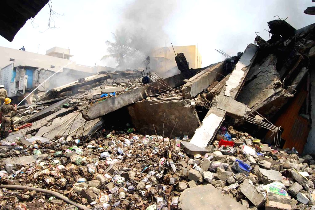 The debris of a building that collapsed in Hyderabad on April 18, 2016.