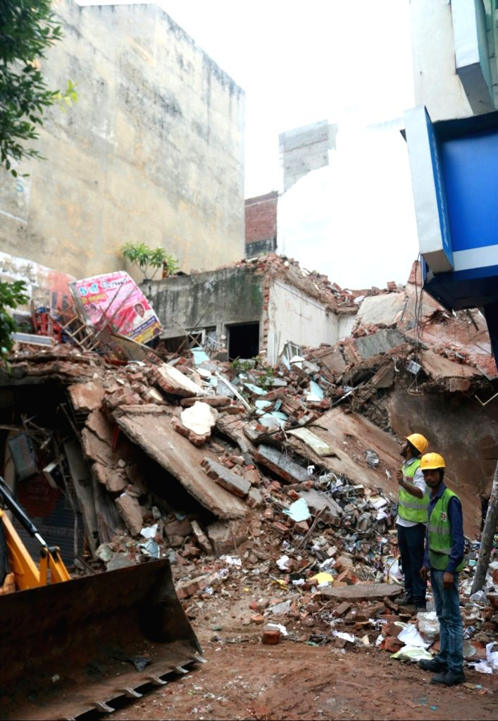 The debris of a portion of a four storied building that collapsed in Delhi' Laxmi Nagar on July 2, 2017.