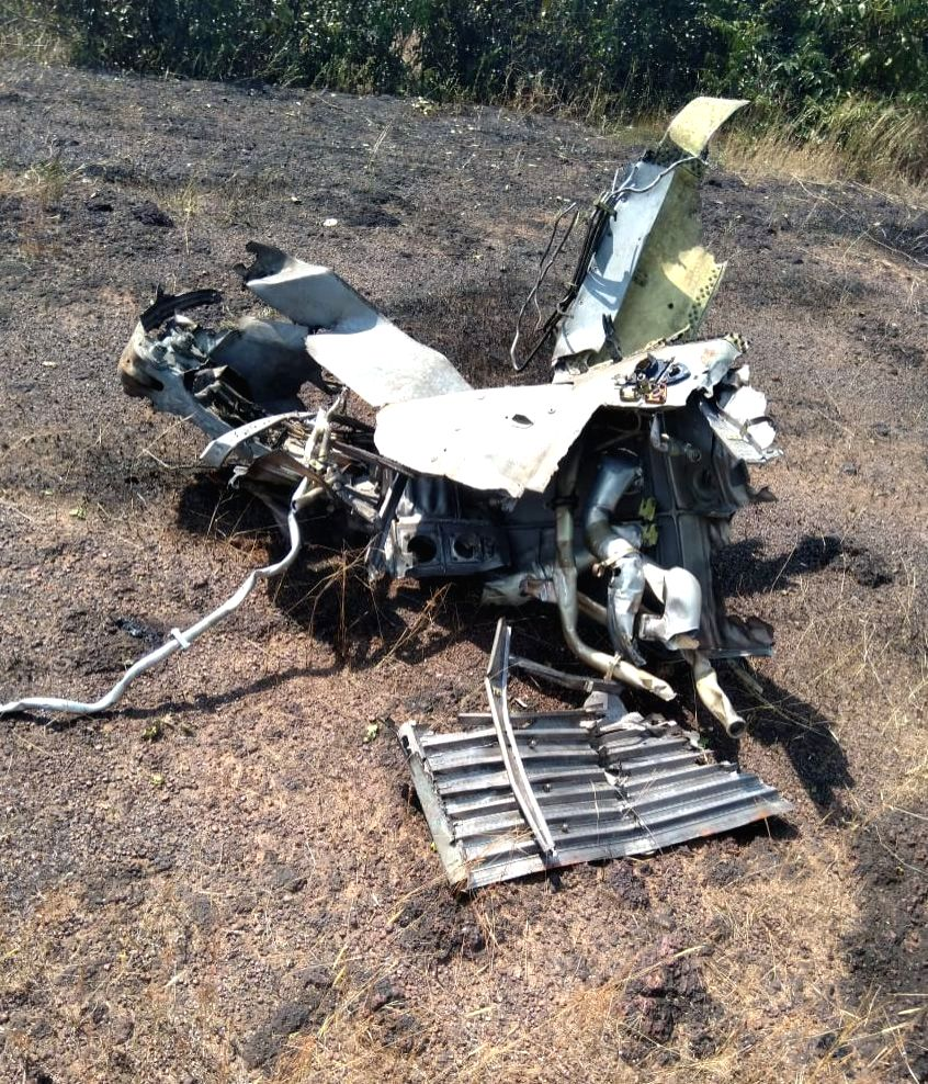 The debris of an MiG-29K trainer aircraft of the Indian Navy that crashed after it suffered an engine fire, at a short distance from the Dabolim international airport in Goa on Nov 16, 2019.