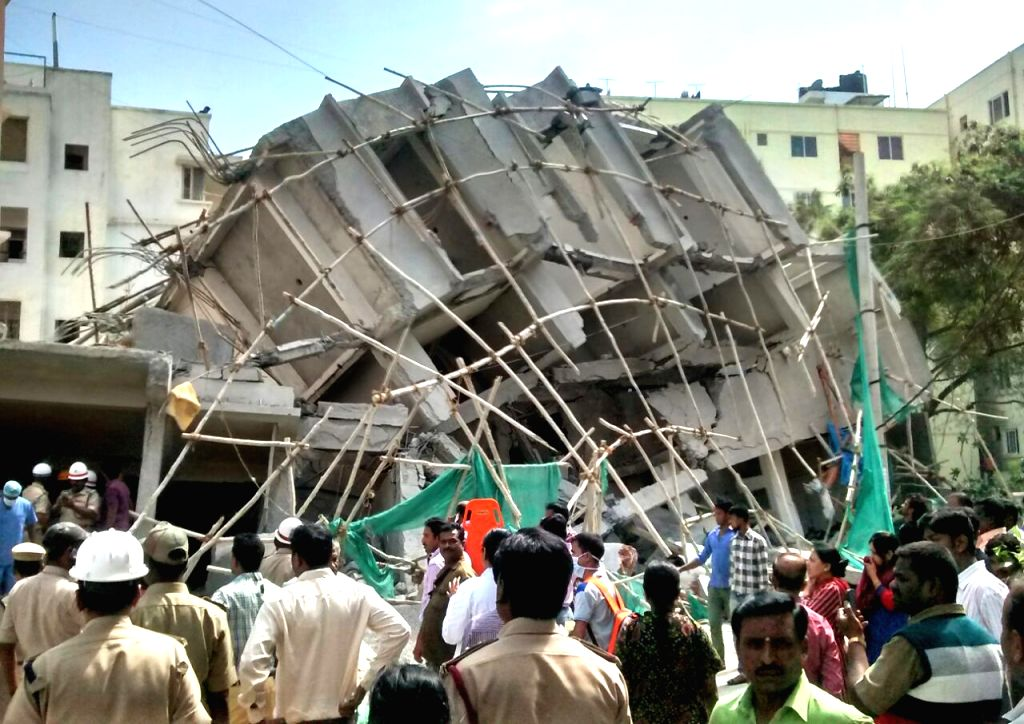 The debris of an under-construction building that collapsed in Bengaluru on Oct 5, 2016.