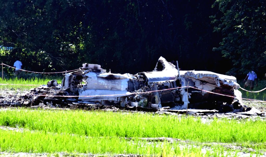 The debris of IAF's Sukhoi MKI 30 that crashed on Thursday night, in Assam's Tezpur on Aug 9, 2019.