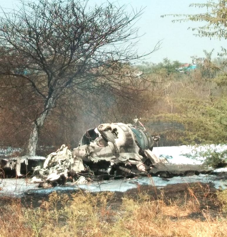 The debris of Indian Air Force's (IAF) Mirage-2000 fighter that crashed at a military airport in Bengaluru's eastern suburb on Feb 1, 2019. Two senior pilots identified as Squadron er ...