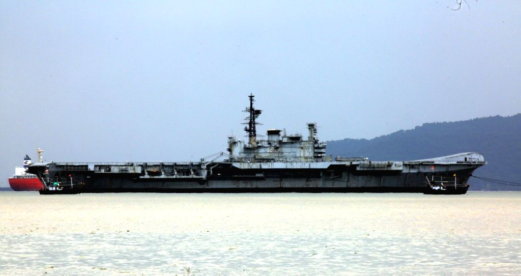 The decommissioned aircraft carrier VIRAAT, starts for its final journey from Mumbai to Alang in Gujarat where it will be broken down and scrapped, on Sep 19, 2020.