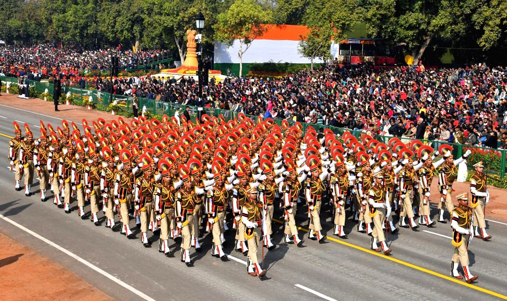 The Delhi Police contingent marches on Rajpath during 2019 Republic Day Parade in New Delhi, on Jan 26, 2019.