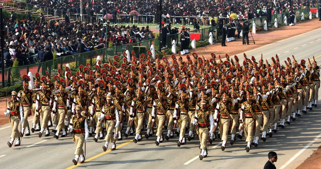 The Delhi Police Marching Contingent passes through the Rajpath during the 71st Republic Day parade in New Delhi on Jan 26, 2020.