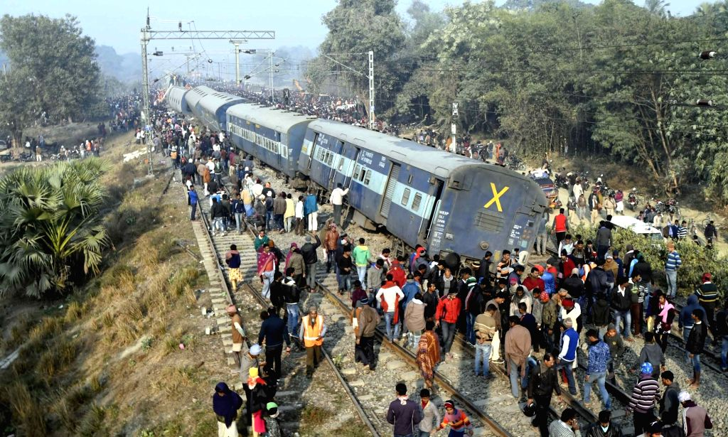 The derailed coaches of Delhi-bound Seemanchal Express seen at the accident site in Bihar's Vaishali district on Feb 3, 2019. At least seven people were killed and 11 others injured when 11 ...