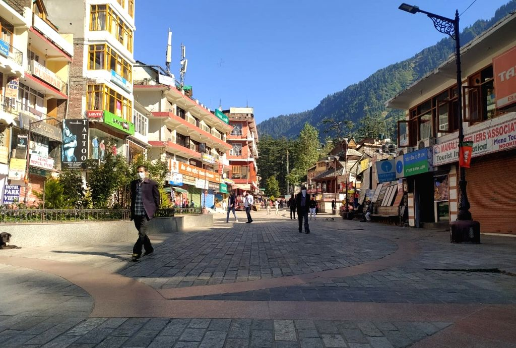 The deserted Mall Road, the popular strolling street for the tourists in Manali, amid the coronavirus scare.