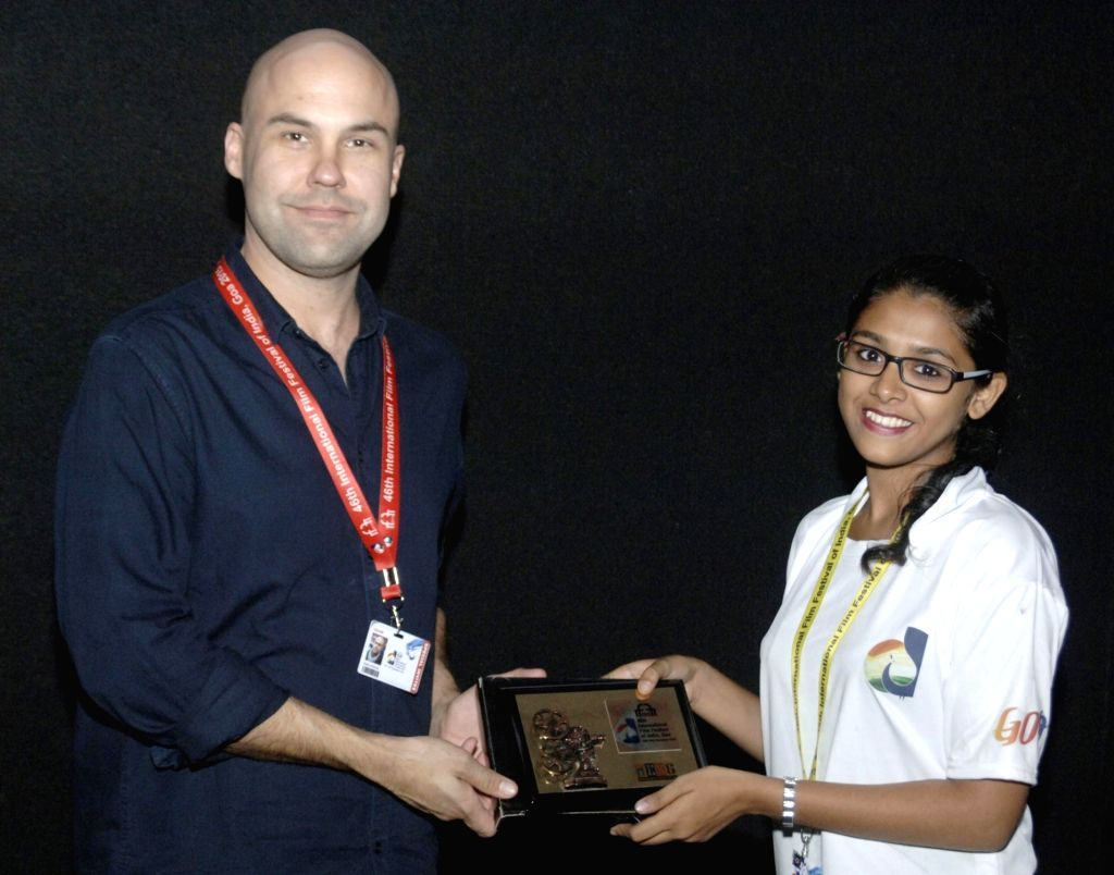 """The Director of the film, """"Golden Kingdom"""" Brian Perkins being felicitated at the 46th International Film Festival of India (IFFI-2015), in Panaji, Goa on Nov 28, 2015."""