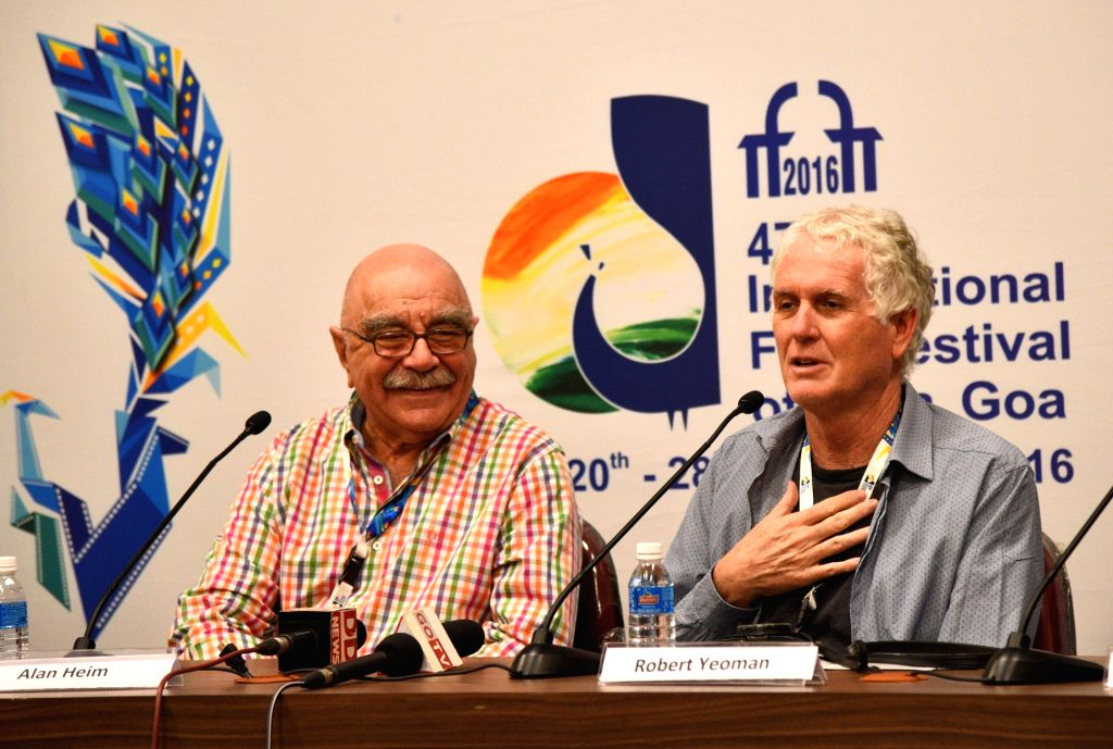 The Directors Alan Heim and Robert Yeoman at a press conference, during the 47th International Film Festival of India (IFFI-2016), in Panaji, Goa on Nov 27, 2016.