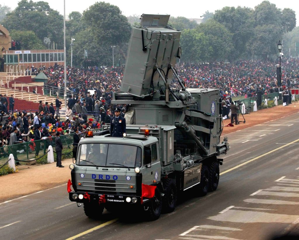 The DRDO developed low level transport multi-function rotating 4D Active Phased Array Radar, ASHWINI, with electronic steering in both azimuth and elevation, on display at Rajpath during ...