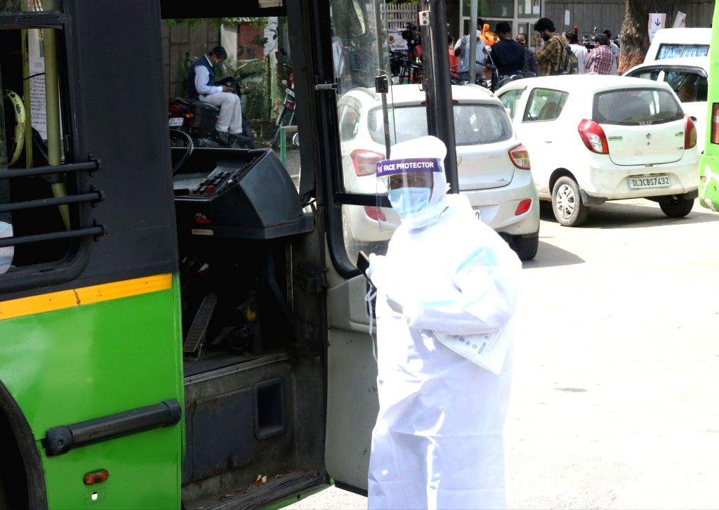 The driver of the bus who carried people who attended Tabligh-e-Jamaat congregation for coronavirus screening to Lok Nayak Jai Prakash Narayan Hospital from Delhi's Nizamuddin area where a ...