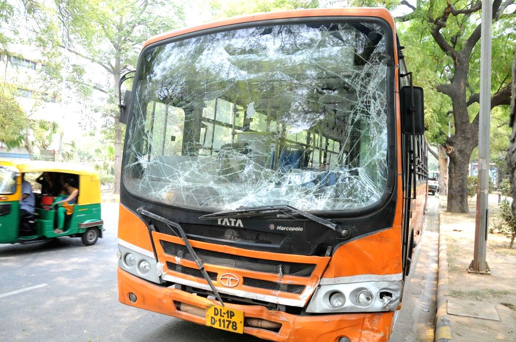 The DTC bus that met with an accident with RTV school bus at Parliament street in New Delhi, on May 8, 2016.