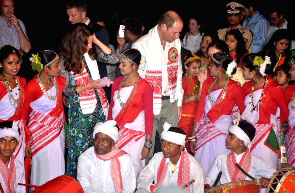 The Duke and Duchess of Cambridge, Prince William and Kate Middleton being felicitated at Diphlu River Lodge in Kaziranga National Park of Assam on April 12, 2016.