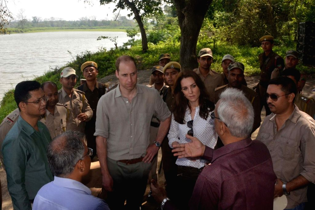 The Duke and Duchess of Cambridge, Prince William and Kate Middleton during their visit to Kaziranga National Park of Assam on April 13, 2016.