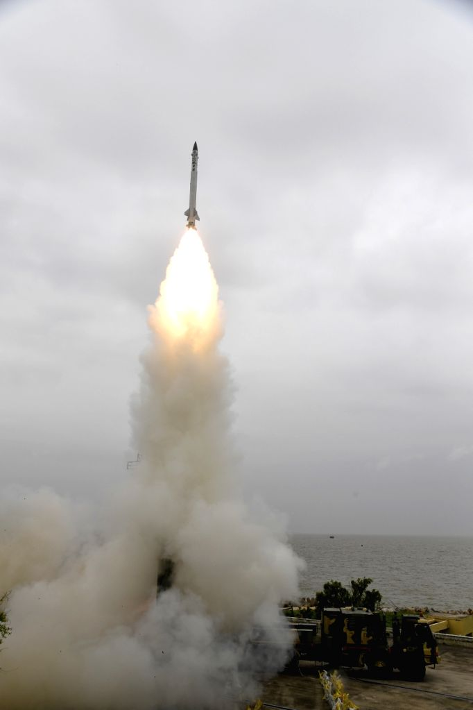 The endo-atmospheric Advanced Air Defence (AAD) interceptor missile test fired from the Abdul Kalam Island off the Odisha coast, 150 kilometres north-east of the state capital ...
