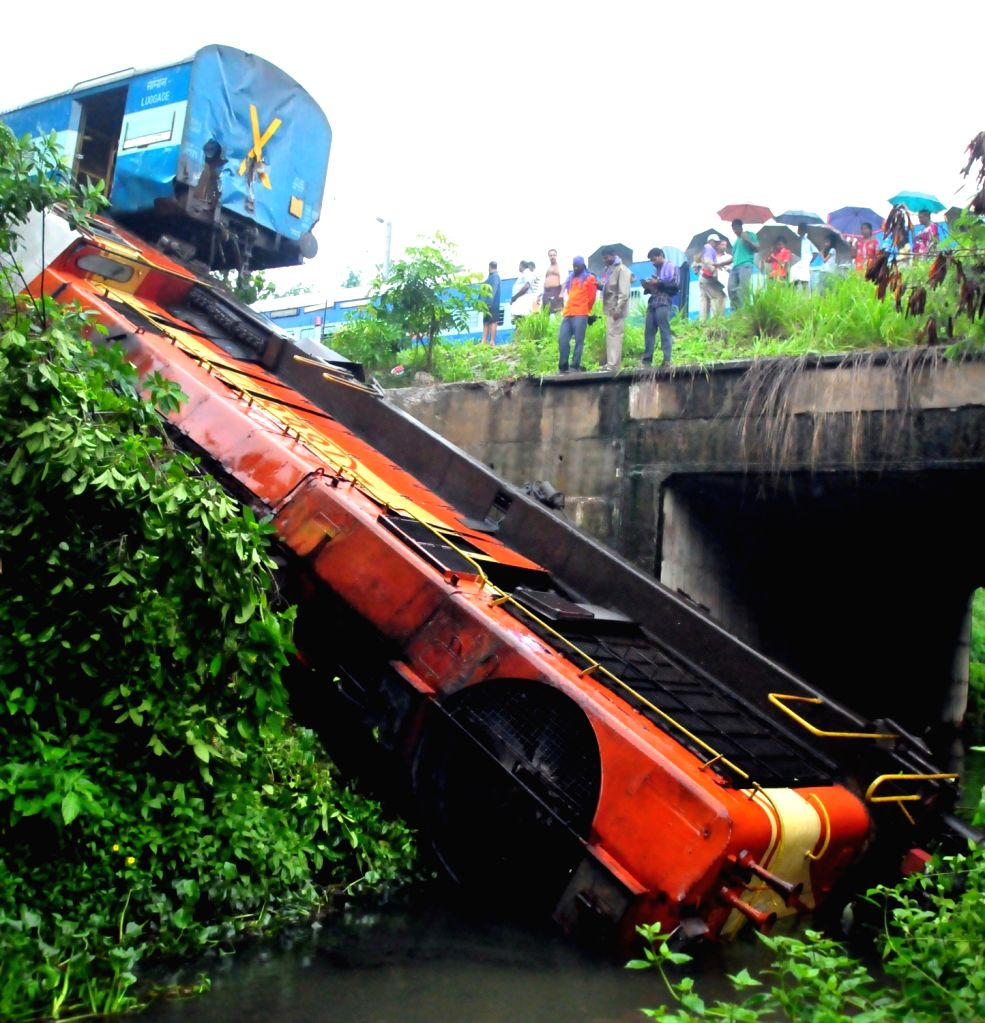 The engine of Kannur-Alappuzha Executive Express that got derailed near the Kannur railway station on July 5, 2016. The loco pilot was injured in the accident.