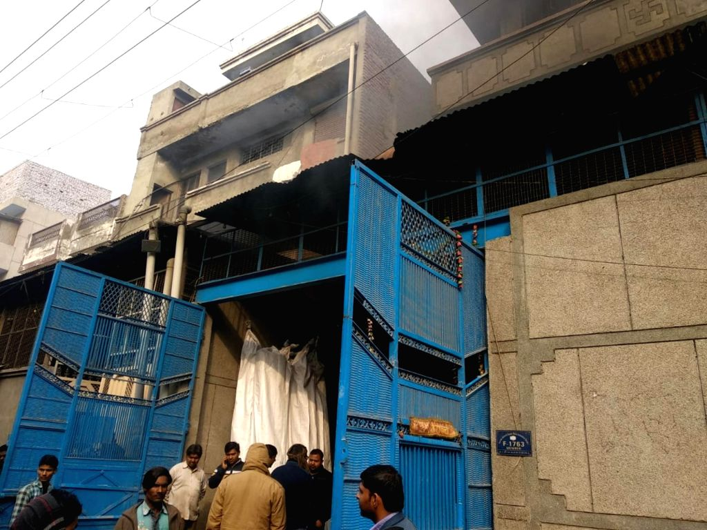 The factory where a fire broke out in Narela industrial area of New Delhi, on Feb 19, 2019. The cause of the blaze is under probe.