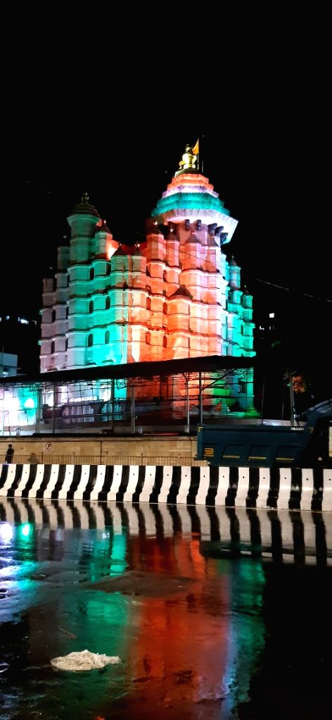 The famed Siddhivinayak Temple in Prabhadevi, Mumbai, lit up in the Indian tricolour on the of I-Day