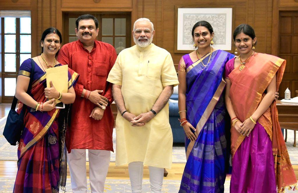 The family members of Bharat Ratna MS Subbulakshmi meet Prime Minister Narendra Modi in New Delhi on Sept 19, 2017. - Narendra Modi