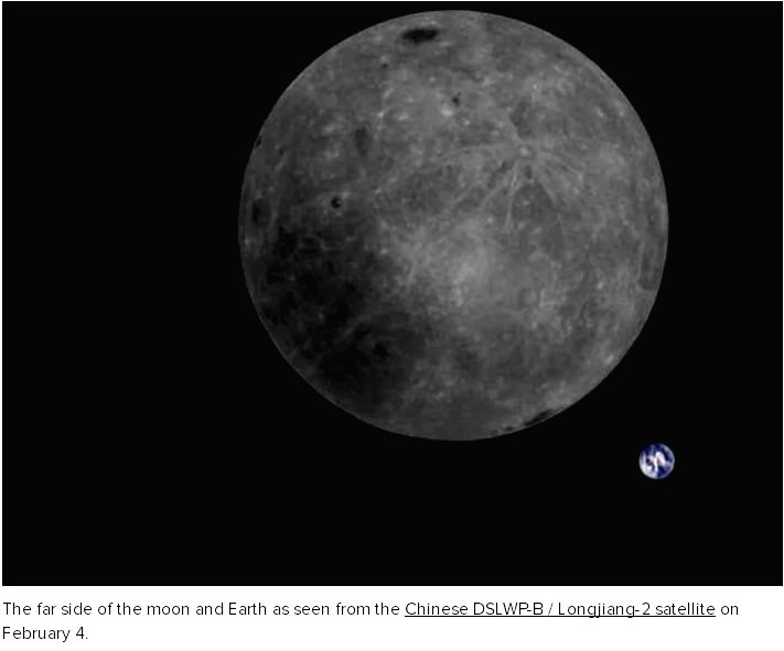 The far side of the moon and Earth as seen from the Chinese DSLWP-B / Longjiang-2 satellite on February 4. MingChuan Wei