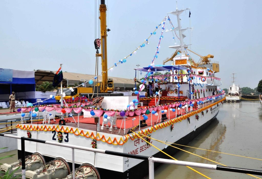 The Fast Patrol Vessel built by Garden Reach Shipbuilders and Engineers Limited, being launched at Rajabagan Dockyard in Kolkata, on March 31, 2018.