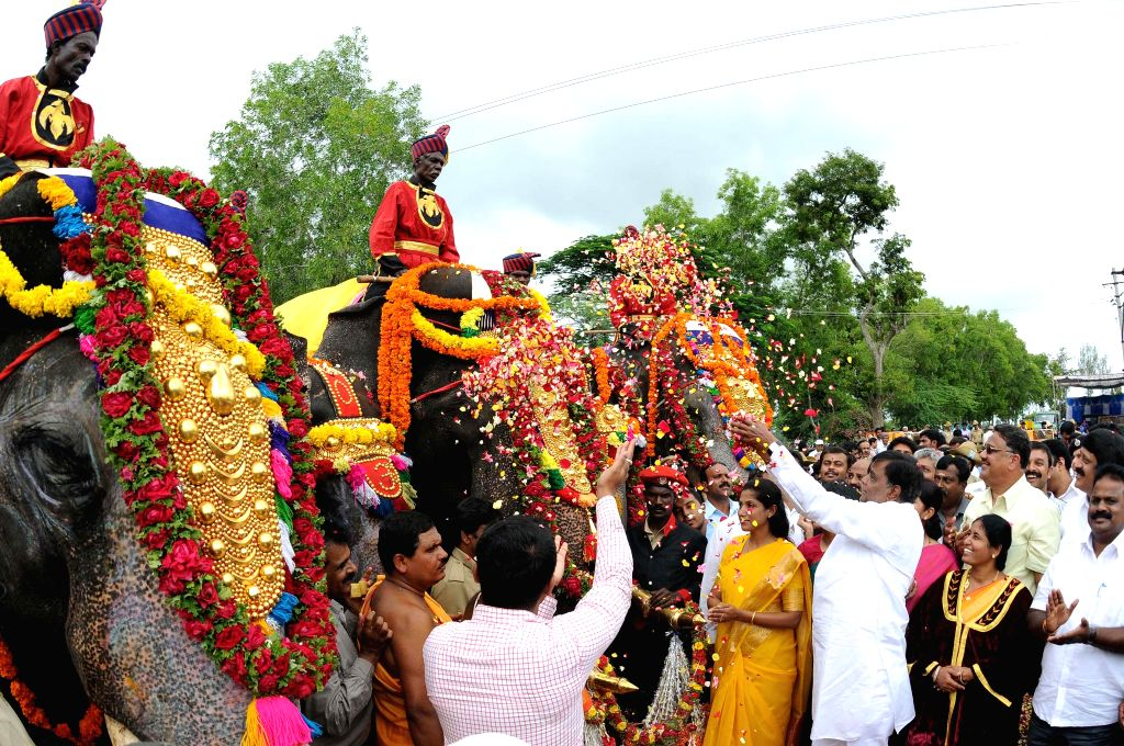 The first batch of five elephants Balarama, Abhimanya, Arjuna, Mary, Varalakshmi lead the traditional 'Gaja Payana' or the march of elephants from Veeranahosahalli to Mysore Palace, in Mysore on Aug .