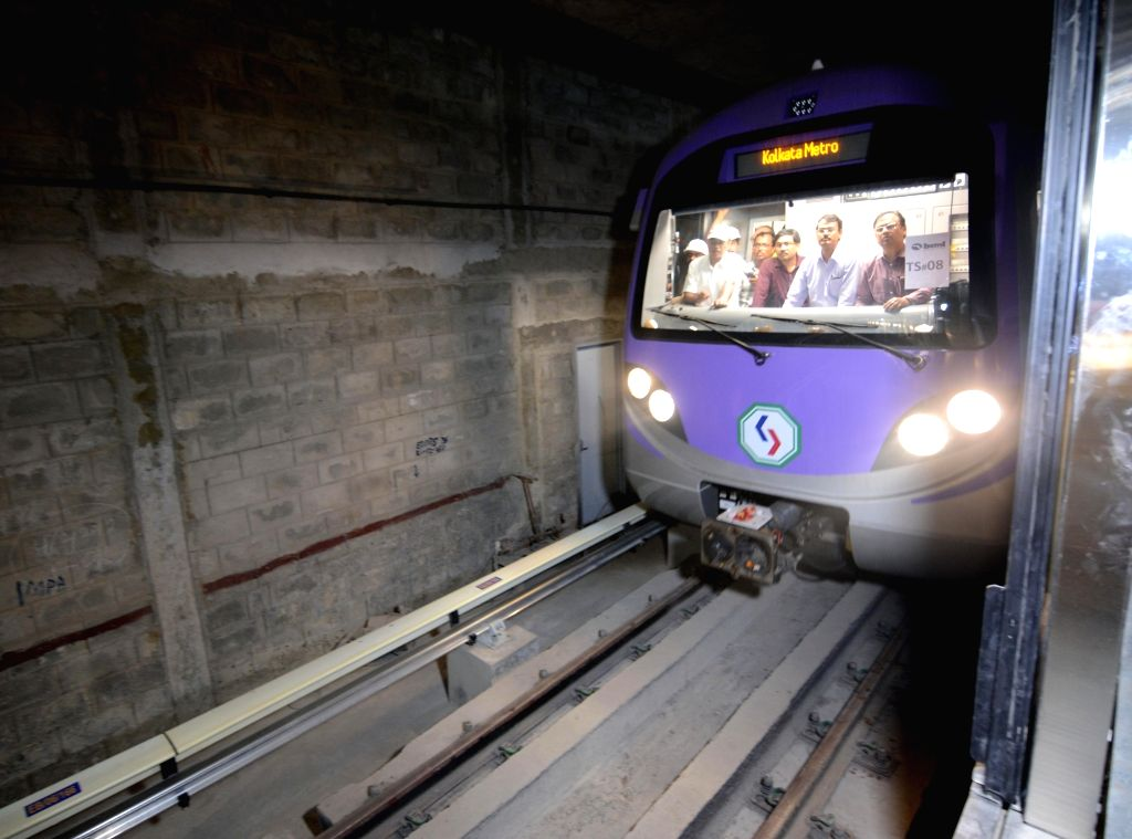 The first underground trial run for the Kolkata Metro's East-West corridor between Sector V and Phoolbagan metro stations underway in Kolkata, on May 31, 2019.