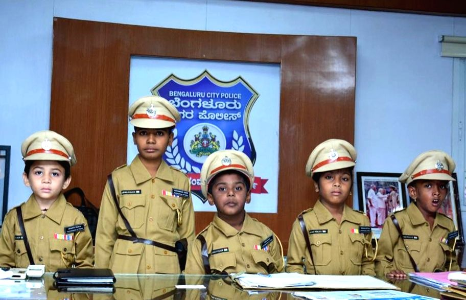 The five children suffering from life threatening diseases who were made Police Commissioners for a day under a joint initiative by Bengaluru City Police and 'Make A Wish' Foundation, on ...