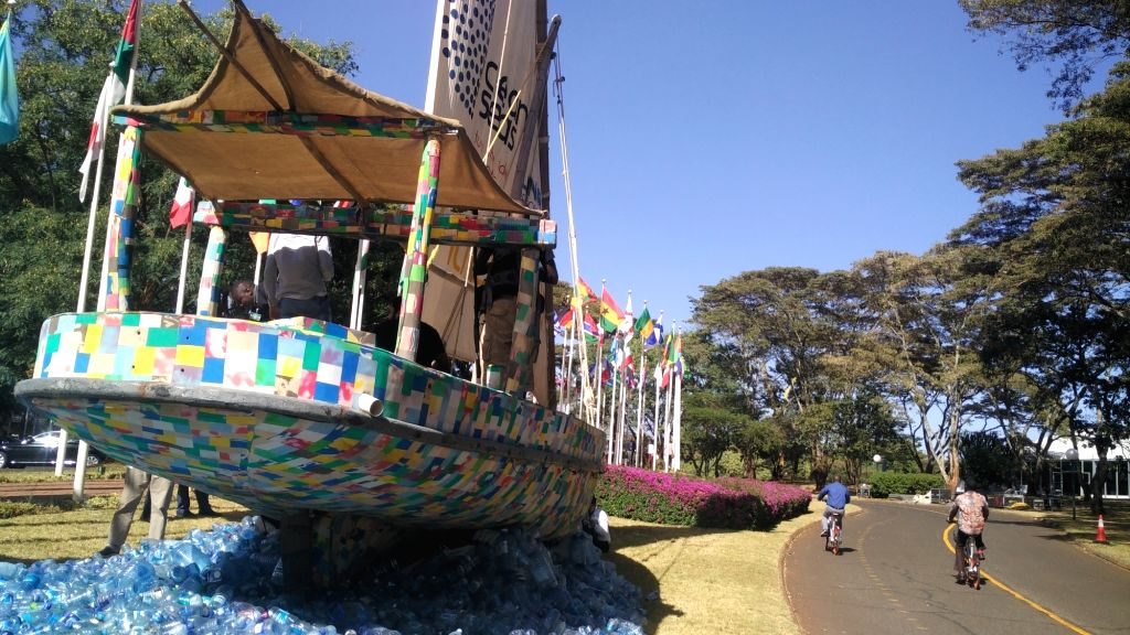 The flamboyant traditional nine-metre long dhow boat, made from 10 tonnes of plastic waste, is stationed in the UN Environment headquarters in Nairobi where over 4,700 delegates from 170 countries are gathered for the week-long UN Environment Assembl