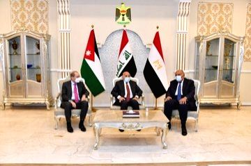 The Foreign Ministers of Iraq Fuad Hussein, Egypt Sameh Shoukry and Jordan Ayman Safadi, meet to prepare for trilateral summit.(pic credit: twitter.com/AymanHsafadi)