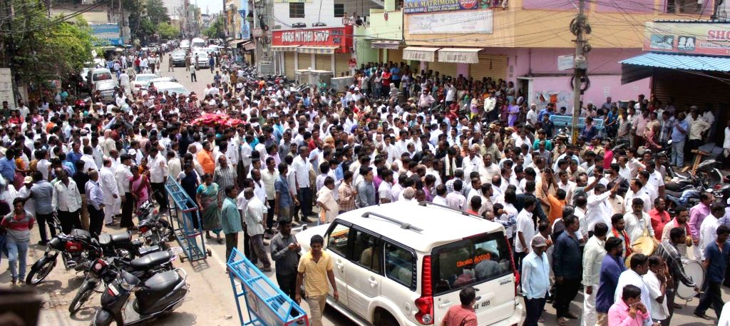 The funeral procession of Bandaru Vaishnav, son of  former Union Minister and BJP leader Bandaru Dattatreya, underway in Hyderabad on May 23, 2018. Vaishnav, 21, died of a massive heart ...