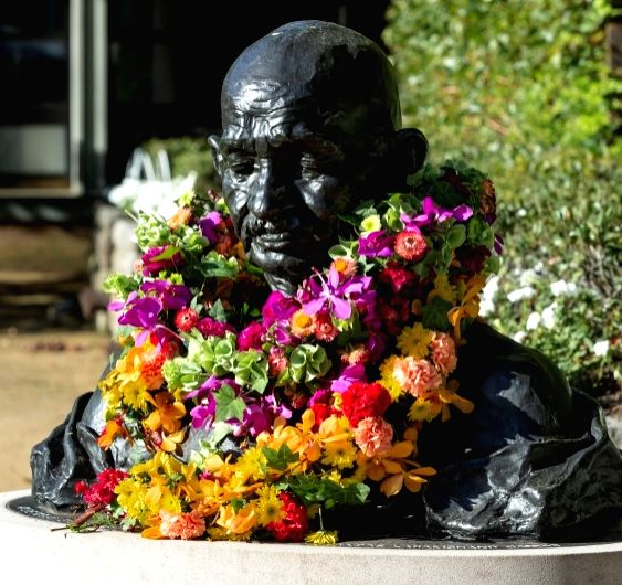 The Gandhi bust at UNSW, adorned with flowers after the Gandhi Remembrance Ceremony. (Photo courtesy: Jacquie Manning/UNSW) - The Gandhi