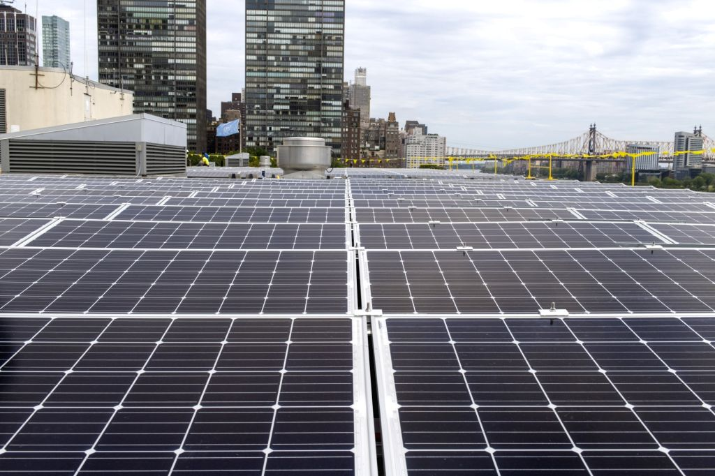 The Gandhi Solar Park on the roof of a building in the United Nations headquarters in New York. The facility donated by India costs $1 million and has a 50-kilowatt capacity.
