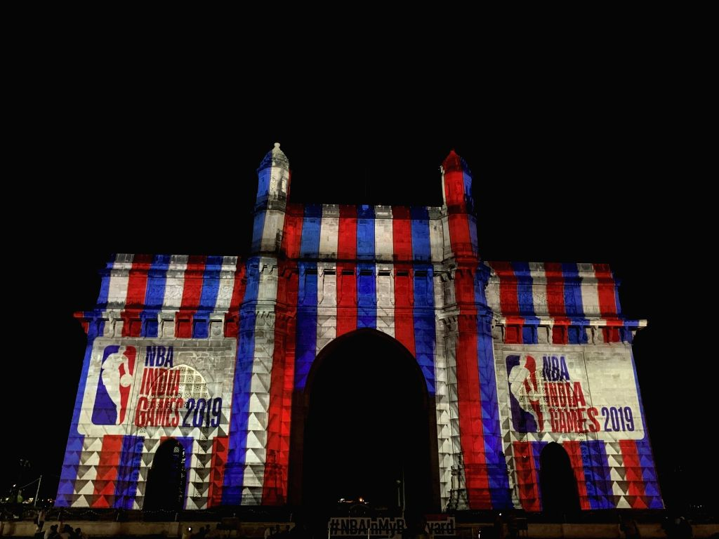 The Gateway of India, commemorated the arrival of the NBA India Games 2019 with a stunning light and sound montage.