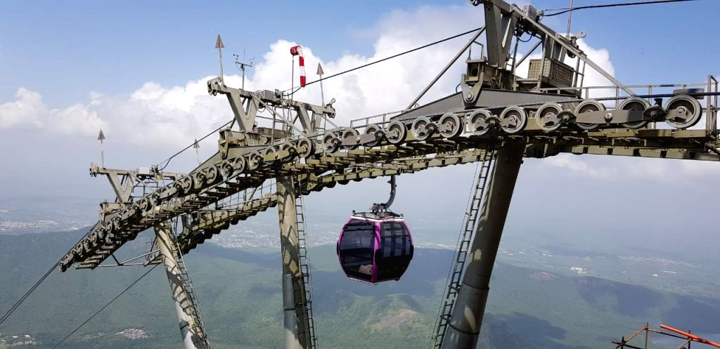 The Girnar ropeway project in Junagadh that was inaugurated by Prime Minister Narendra Modi via video conferencing from New Delhi on Oct 24, 2020. While the Prime Minister inaugurated the ... - Narendra Modi and Shri Nitin Patel