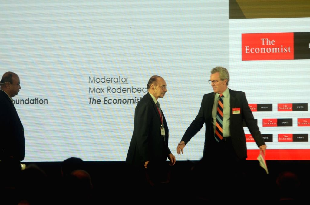 The Godrej Group Chairman Adi Godrej and American journalist Max Rodenbeck at 'The Economist India Summit 2018', in Mumbai on Oct 25, 2018.