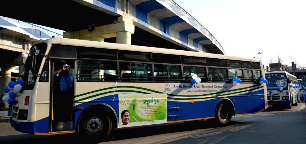 "The ""Green Buses"" that were flagged off by West Bengal Chief Minister Mamata Banerjee along with electric buses and pink taxis at Nabanna, in Howrah on Feb 20, 2019. - Mamata Banerjee"