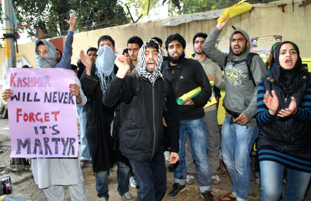 The group of students protesting against Afzal Guru's hanging at Jantar Manter in New Delhi 09 Feb 2013.