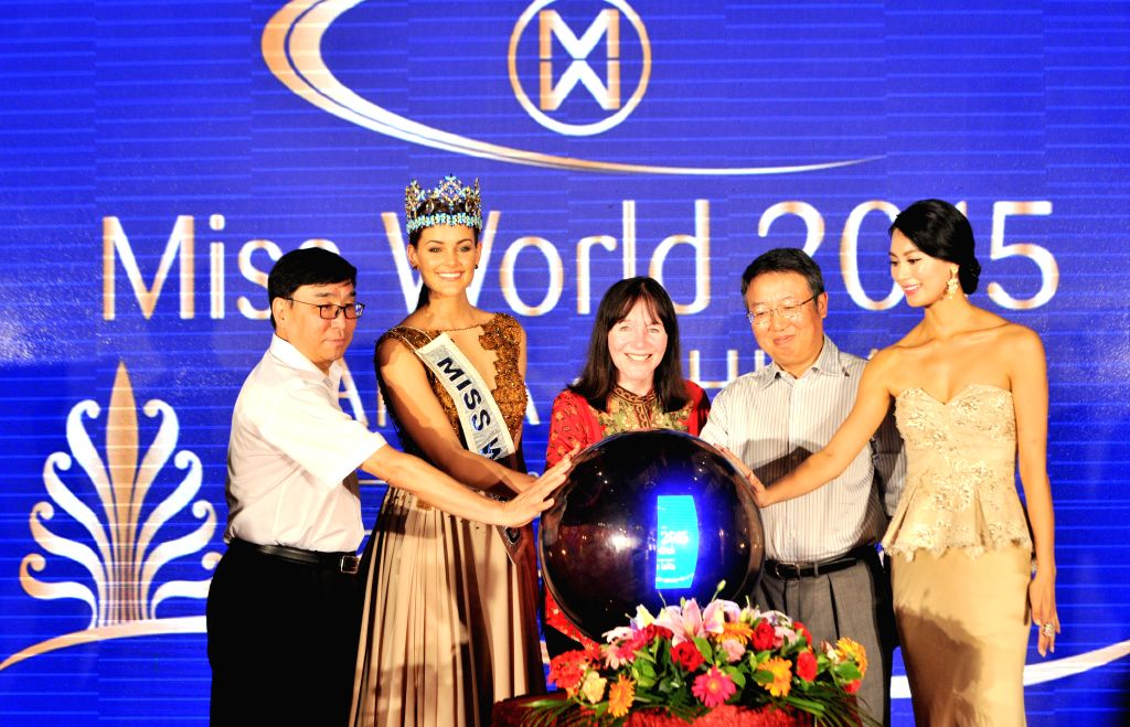 The guests launch the 65th Miss World Final in Sanya, south China's Hainan Province, Aug. 6, 2015. Miss World Organization announced at a press conference that the ...