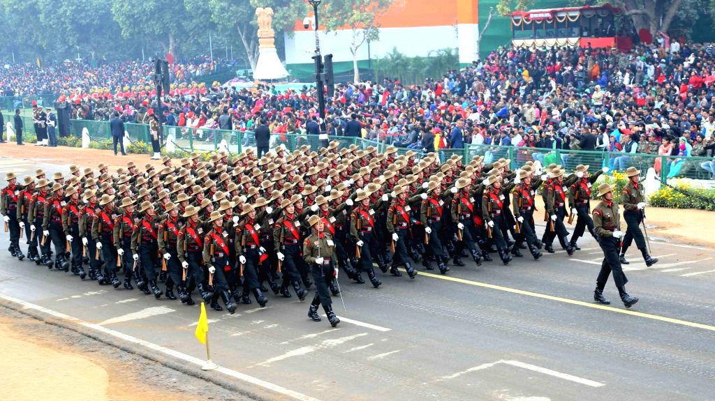The Gurkha Regiment marching contingent passing through Rajpath during the full dress rehearsal for the Republic Day Parade 2018, in New Delhi on Jan 23, 2018.