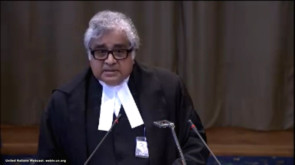 The Hague: A screengrab of Advocate Harish Salve as he speaks at the International Court of Justice during a public hearing in the case of Kulbhushan Jadhav, the alleged Indian spy sentenced to death ...