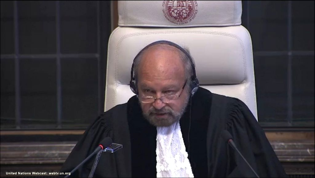 The Hague: A screengrab of President of  International Court of Justice, Judge Ronny Abraham, reading out the court verdict in Kulbhushan Jadhav's case  in The Hague, Netherlands on May 18, 2017. In a major relief for India, the International Court o