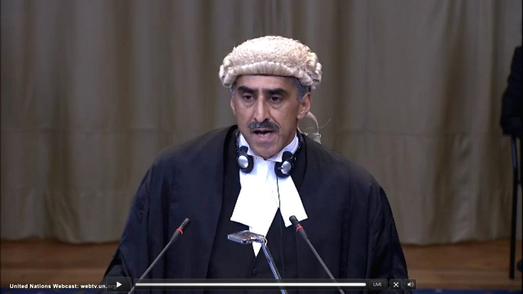 The Hague: A screengrab of QC Khawar Qureshi as he pleads at the International Court of Justice from Pakistan's side during a public hearing in the case of Kulbhushan Jadhav, the alleged Indian spy ...