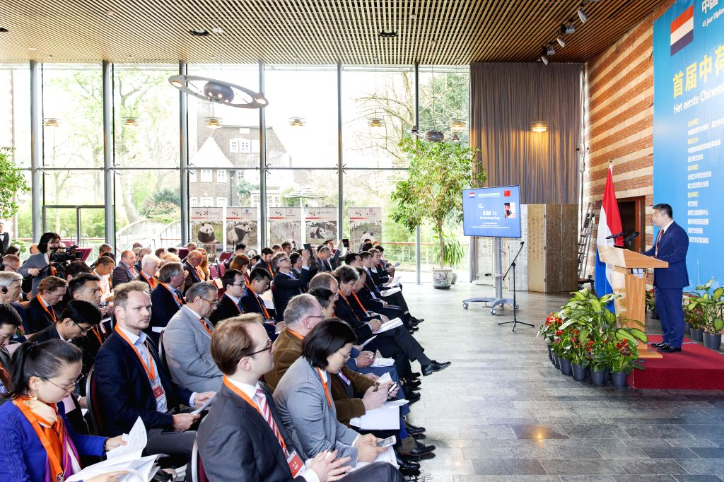 """THE HAGUE, April 22, 2017 - Photo taken on April 21, 2017 shows the first edition of """"China-Netherlands Economic Cooperation Forum"""" in The Hague, the Netherlands. A total of 41 intentions ..."""