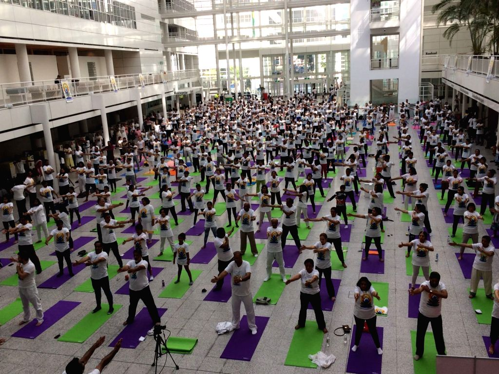 The Hague: Guided Group Yoga session organised as part of the International Day of Yoga celebrations in The Hague, Netherlands  on June 18, 2017.
